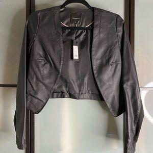 Dynamite NEW black faux leather cropped jacket
